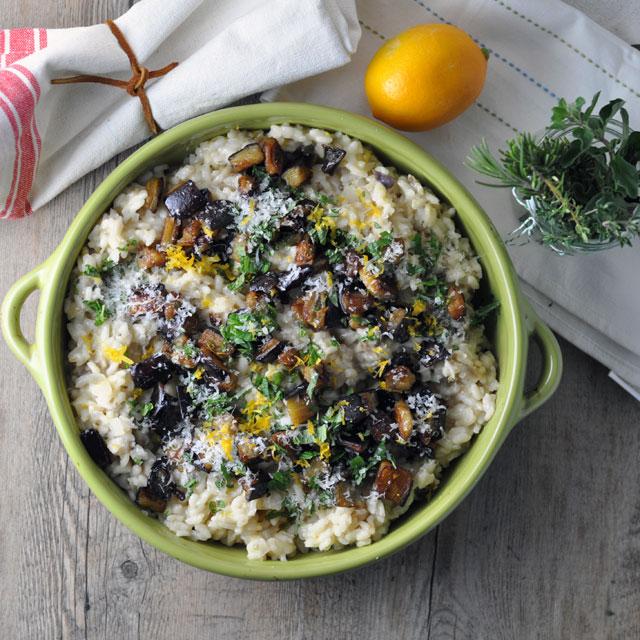 risotto aubergine, citron et basilic